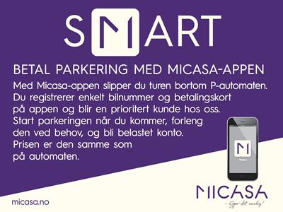 Betal parkering med Micasa-app